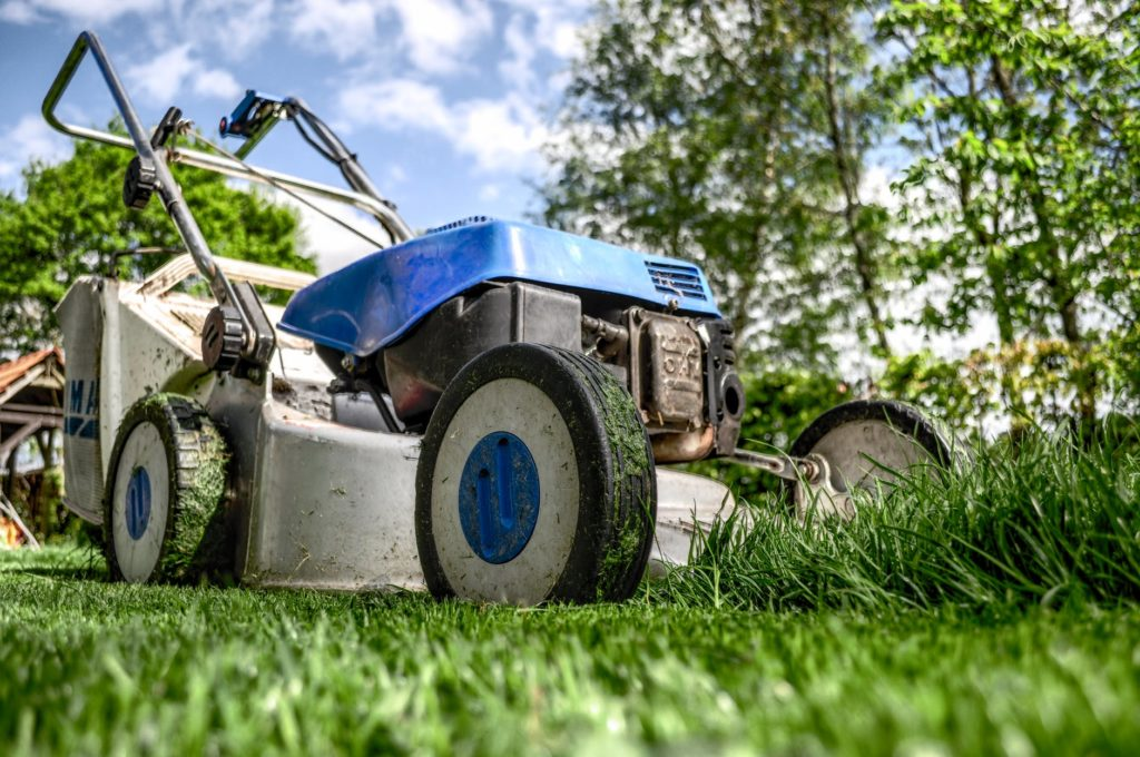 mowing your law before a roof replacement