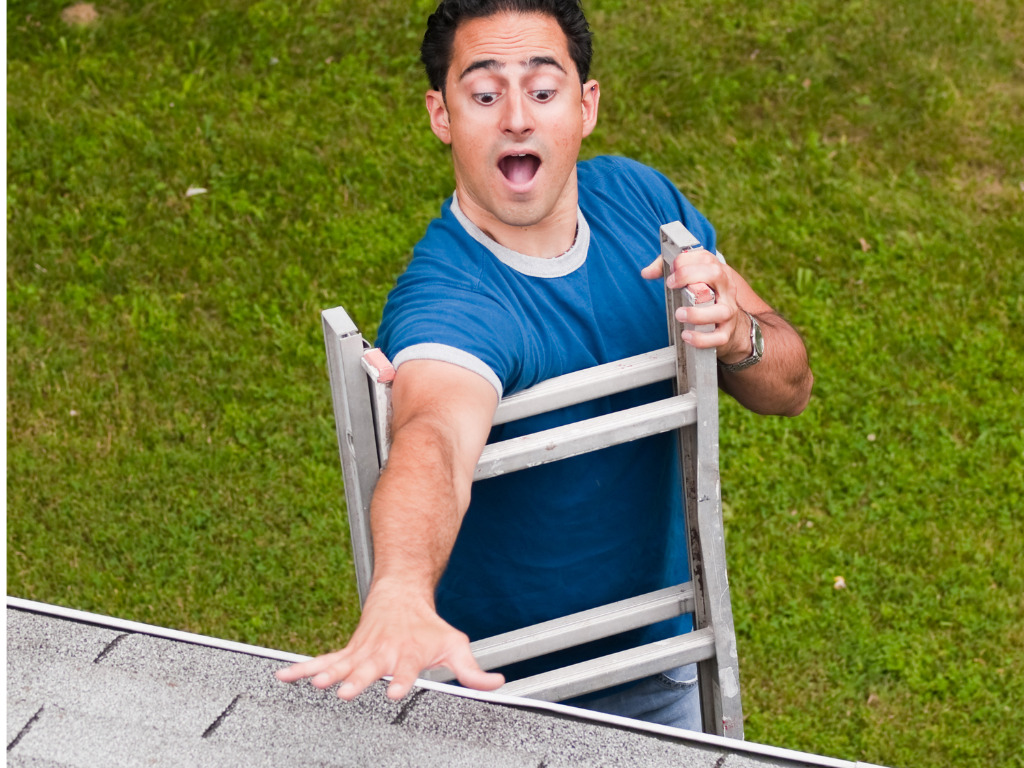 man attempting DIY roof repair and falling off ladder